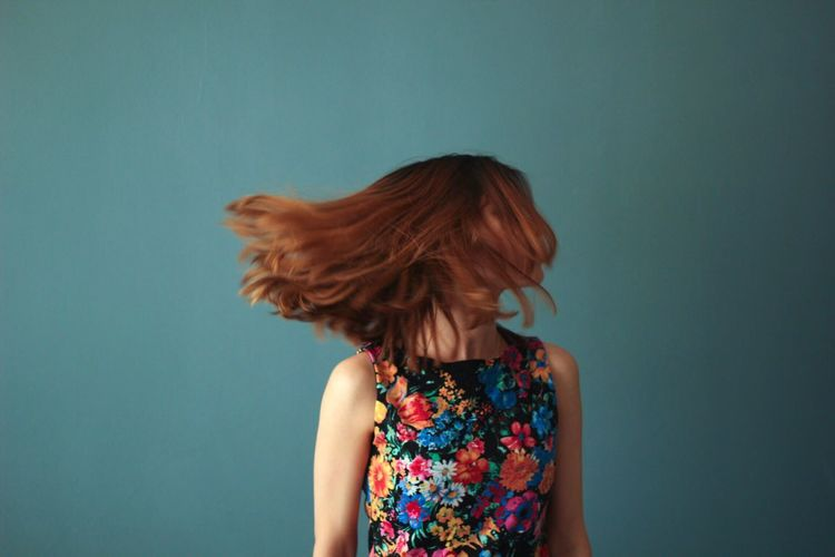 Dance baby dance Redhead Long Hair Colored Background Indoors  Dancing Blue Flower Multi Colored BYOPaper! The Portraitist - 2017 EyeEm Awards