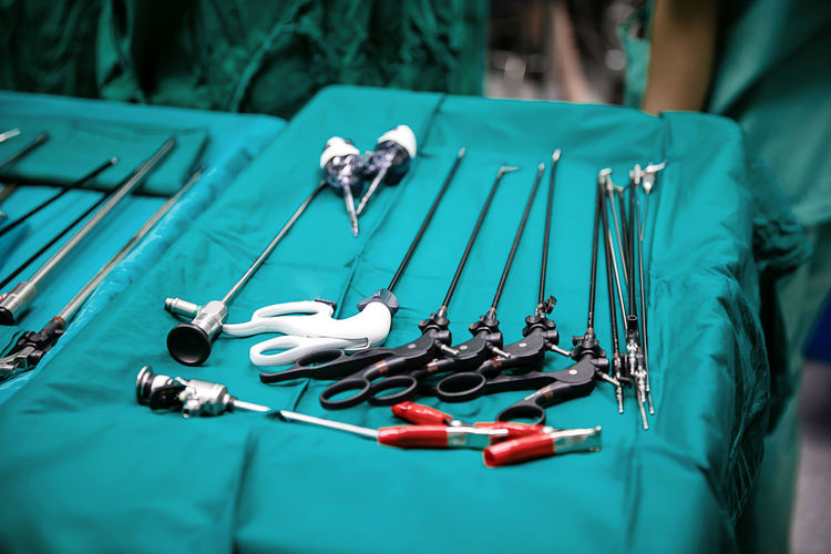 Close up sterile surgical tools for laparoscopic surgery. tools for surgery