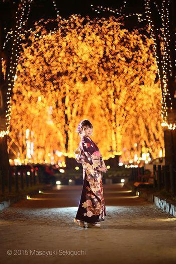 Portrait ストロボ イルミネーション 仙台 仙台光のページェント Sendai-shi 振袖 着物 Japan