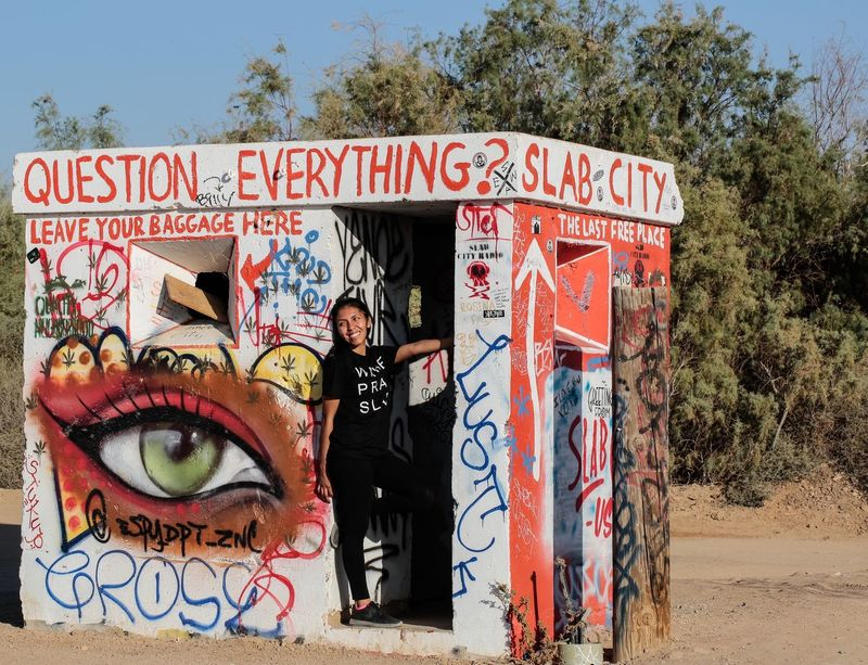 "Entrance to Slab City. Slab City calls itself ""the last free place on earth."" No rent, no fees, no rules, no inspections. A community of people living for self expression and solitude in the California Desert a few miles southeast of the Salton Sea, near Niland, CA. California Desert California Love Niland Slab City Folk Art  Public Art Visionary Art Colorful Buildings Desert JGLowe Deserts Around The World Desert Beauty Desert Life Freedom Of Expression No Rules"