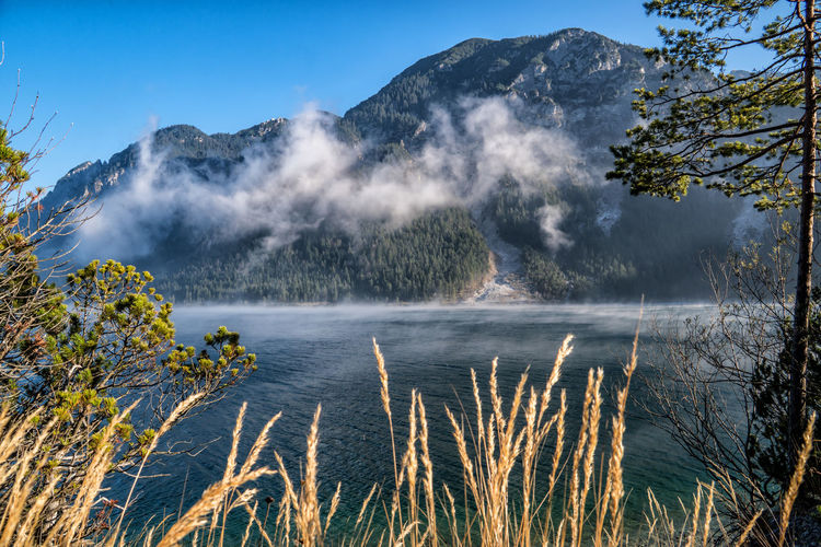 Mist over the lake Beauty In Nature Water Scenics - Nature Mountain Plant Tranquility Nature Tree Sky Tranquil Scene No People Non-urban Scene Day Geology Smoke - Physical Structure Lake Growth Environment Land Power In Nature Outdoors Hot Spring Mist Fog Mountain Lake Autumn Tyrol Austria The Great Outdoors - 2019 EyeEm Awards