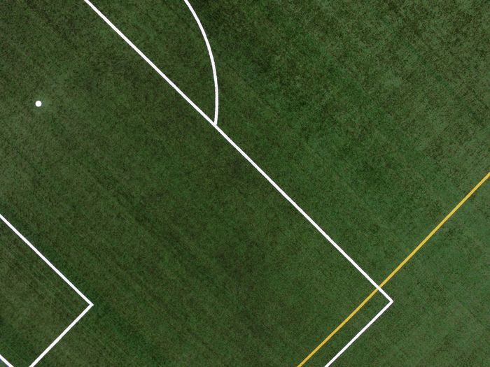 play Soccer Field Sport Playing Field Soccer Team Sport Full Frame Turf Grass Green Color Close-up Marking Aerial View LINE Single Line