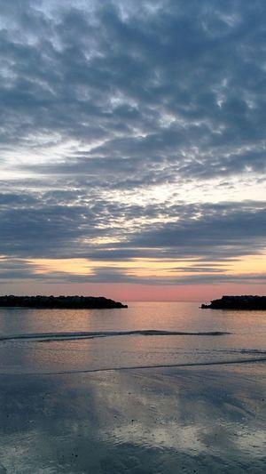 Winthrop Beach Water Meeting Clouds Sunrise Morning Sea Ocean Massachusetts Peace