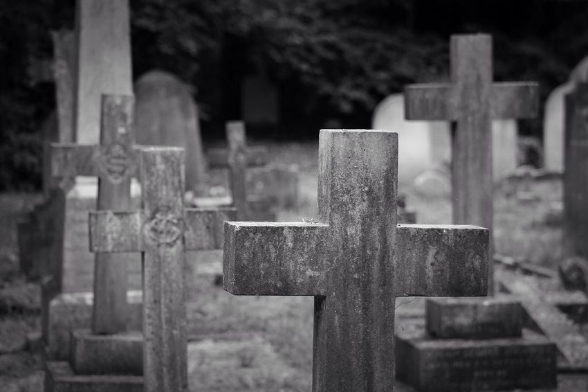 No Property Cemetery Tombstone Cross Memorial The Past Cross Shape Grave Religion Sunlight Spirituality Graveyard Outdoors Day Close-up No People Grief South West London Burial Ground Canonphotography Graveyard Beauty Creative Photography Black & White Canon