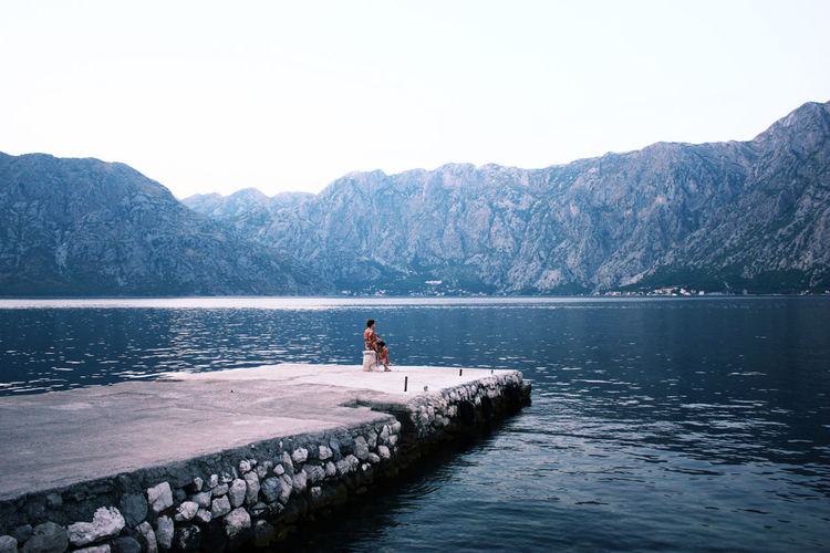 Pier See Montenegro Alone Waiting Woman