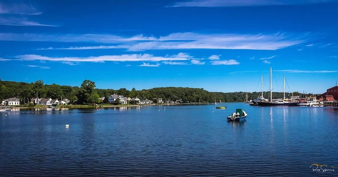 Nautical Vessel Reflection Travel Destinations Tranquility Vacations Blue Outdoors Landscape Tranquil Scene Water Tourism Sky Cloud - Sky Day Summer Harbor Beautyinnature  Beautiful Nature Beautyinnature  Nature Connecticut Mystic River MysticRiver Mystic Seaport