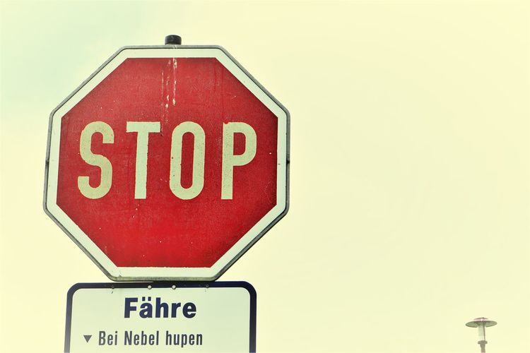 ... 🤔? ... Stop Sign Text Road Sign Warning Sign Authority Safety Danger Humor Communication Red No People Outdoors Close-up Low Angle View Foggy Day Take Care Of Yourself Ferry Terminal Dangerous Traffic Sign The Week On EyeEm Typography & Design Typography