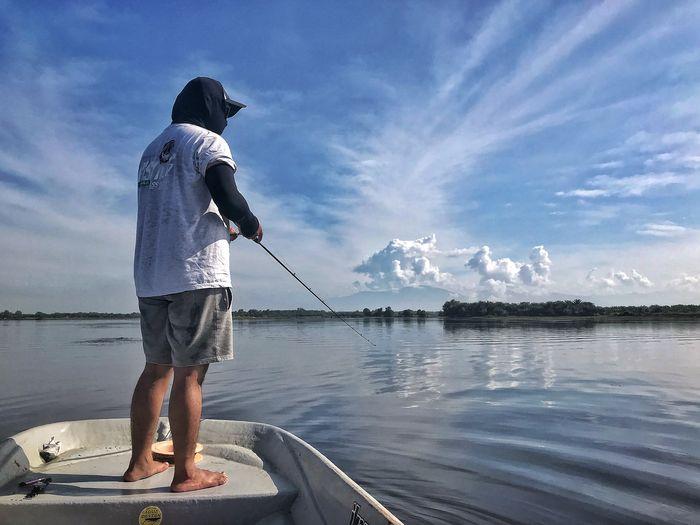 Full length of man fishing in lake