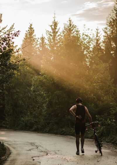 Rear View Of Man Walking With Bicycle On Road Amidst Trees