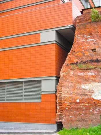 Two Walls Architecture Brick Wall Building Exterior Built Structure City Day No People Outdoors Red Tiled Roof