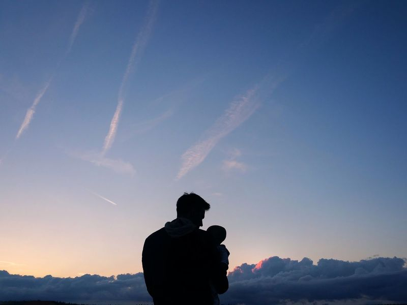 Togetherness Sky Silhouette Vapor Trail Ethereal Fatherandson FatherSonMoments Family❤ Future Love Outdoors Fatherhood  Clouds Blue Destiny Place Of Heart