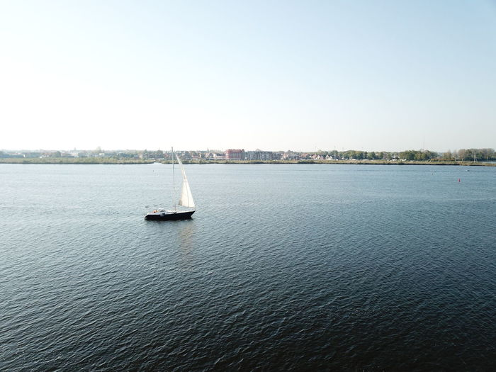 Sailing by drone Drone  Clear Sky Day Mode Of Transportation Nature Nautical Vessel Sailing Sea Sky Tranquil Scene Tranquility Transportation Water Waterfront