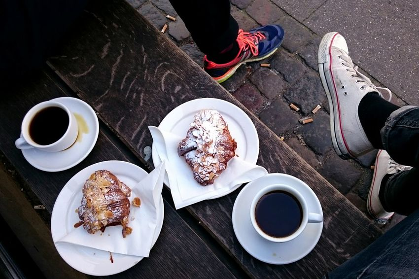 Coffee - Drink Coffee Cup Drink Food And Drink Table High Angle View Plate Refreshment Breakfast Indoors  Food No People Day Tea - Hot Drink Freshness Sweet Food Ready-to-eat Close-up Croissant