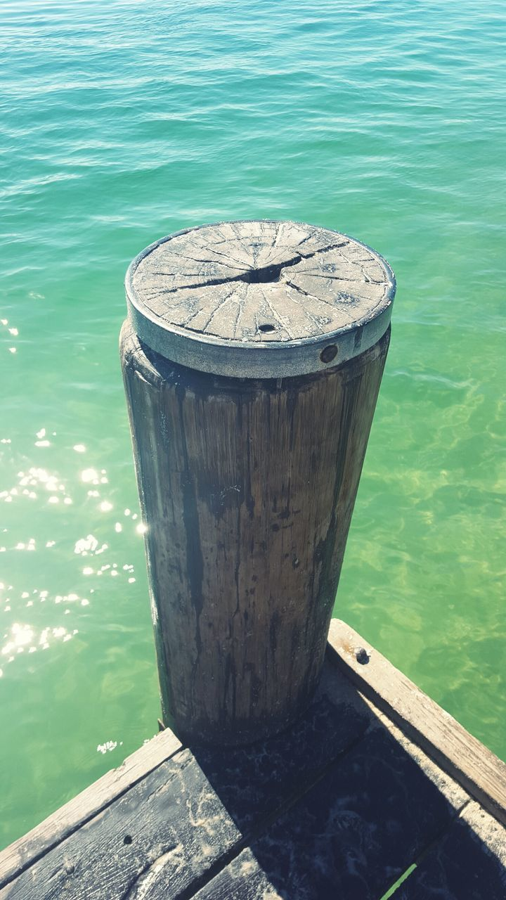Close-Up Of Bollard Against Water