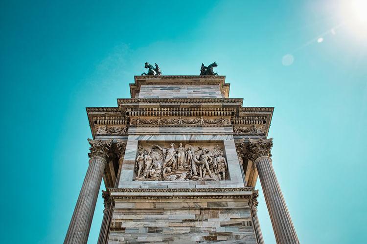 Landmark triumphal arch called arco della pace , arch of peace
