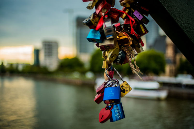 Architecture Bridge - Man Made Structure Built Structure Chain Close-up Day Focus On Foreground Hanging Hope Hope - Concept Lock Love Love Lock Luck Metal Outdoors Padlock Protection Railing River Safe Safety Security Variation Water Frankfurt