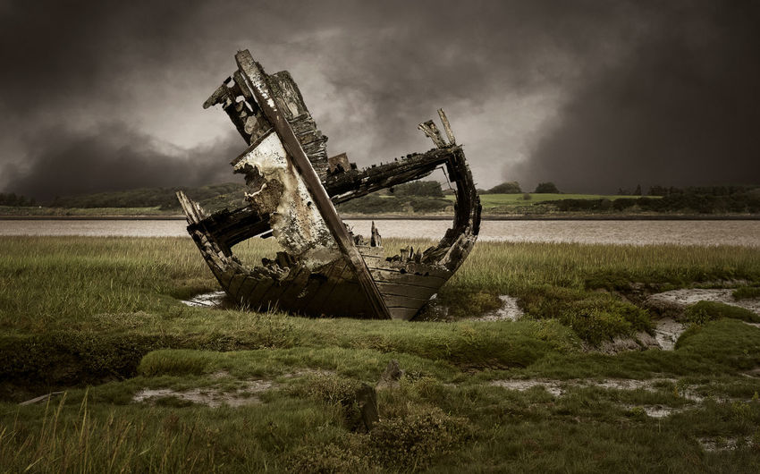 1292 - 20171010 Fleetwood 018 Col Fleetwood Wreck Boat Cloud - Sky Sky Grass Nature Land Field Abandoned No People Environment Old Plant Damaged Landscape Outdoors History Day Overcast Obsolete The Past Ruined Deterioration Sinking