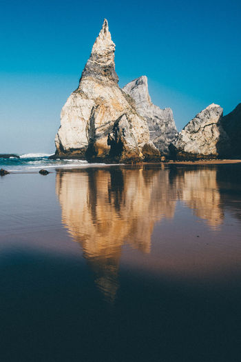 Atlantic Ocean Beach Beautiful View Beauty In Nature Blue Sky Clear Sky Coast Feeling Lonesome No People Ocean Peak Praia Pure Reflections In The Water Relaxation Relaxing Moments Scenics Sea Shore Steep Stones Tranquility Urban Nature Waves EyeEmNewHere