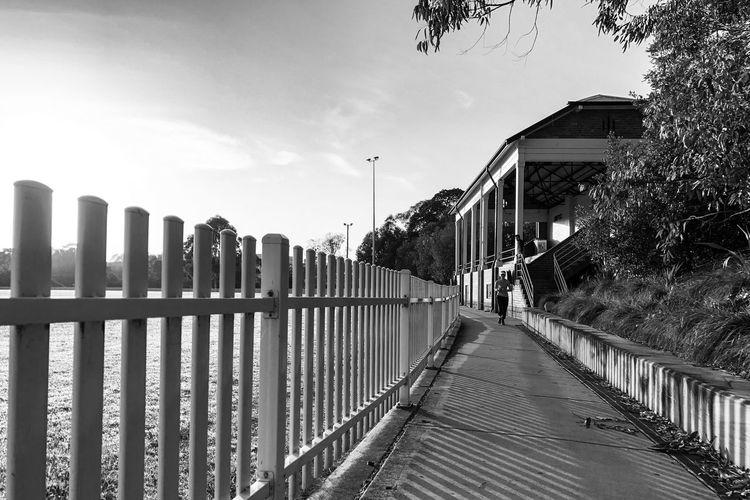 View of railings against building