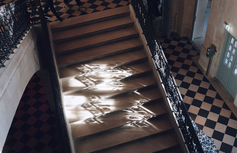 High angle view of staircase at home