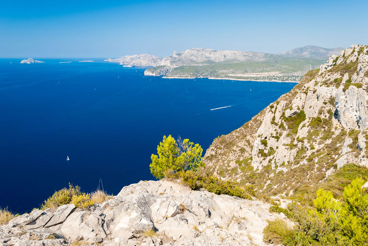Panoramic view of the coastline near Cassis seen from the Route des Cretes (Provence, France) Aerial Aerial View Bay Calanques  Cassis Cliff Coast Coastline France La Ciotat Landscape Marseille Mediterranean  Nature Outdoors Panorama Panoramic Provence Route Des Crêtes Scenics Sea Seascape Sunny Touristic Travel