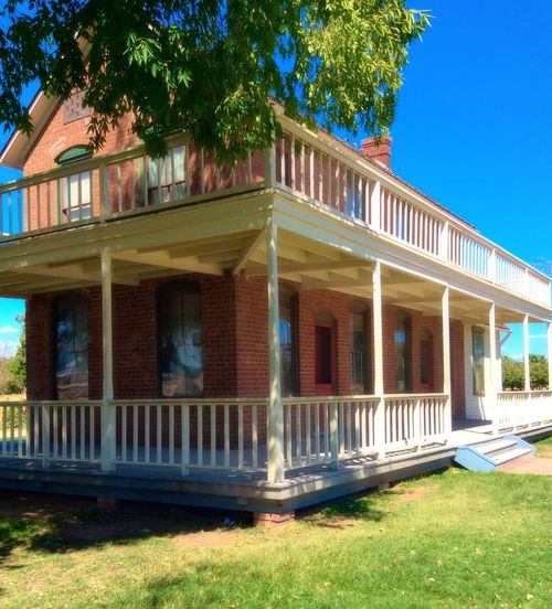 Architecture Built Structure Tree Building Exterior Transportation Window Blue Day Architectural Column Outdoors No People City Life Exterior Green Color Western Sahuaro Ranch Glendale Arizona Ranch Life Historic Tranquil Scene Scenics Brick Shady Trees Multi Colored