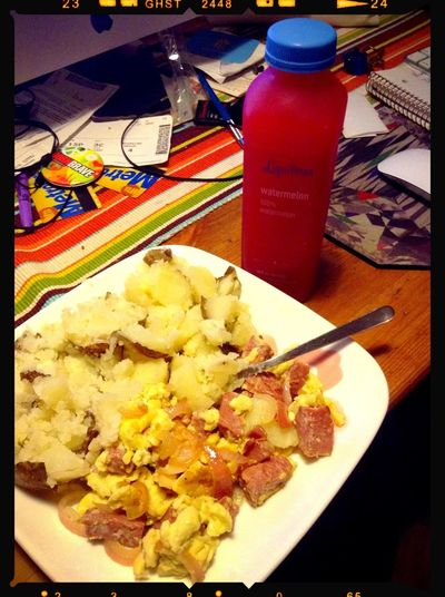 Dinner Cooked Salami & Scrambled Eggs Potatoes Goodnight