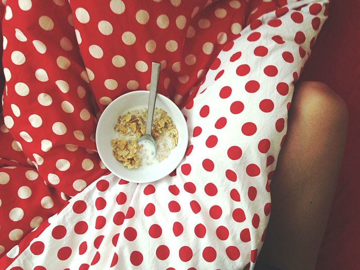 High Angle View Of Cereals In Bowl On Bed At Home