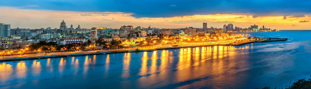 A blue hour view from Havana Architecture Blue Hour Built Structure City City Life Cityscape Cloud Cloud Cloud - Sky Cuba Cuba Havana Cuban Havana Havana Bay Havana City Havana Cuba Illuminated Nature Reflection Scenics Sky Sunset Sunset_collection Travel Destinations Water