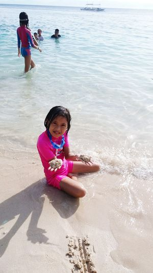 Child Sand Water Playing Summer Beach Day Vacations Phone Camera AyeEm Philippines  Summertime Sea Fun One Girl Only Looking At Camera