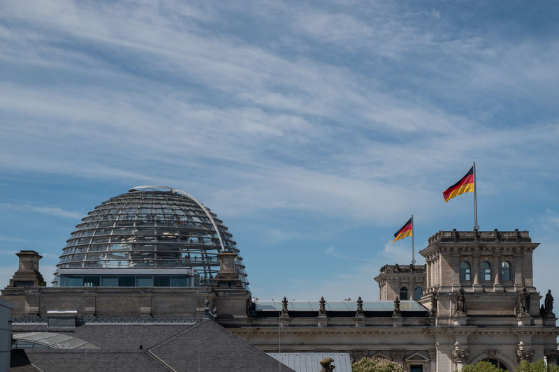 Berlin Architecture Building Exterior Built Structure City Cloud - Sky Day Flag Government Low Angle View Nature No People Outdoors Patriotism Reichtstag Sky Travel Travel Destinations