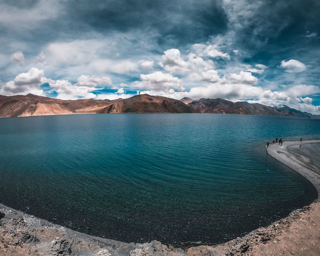 Scenic view of pangong lake against sky