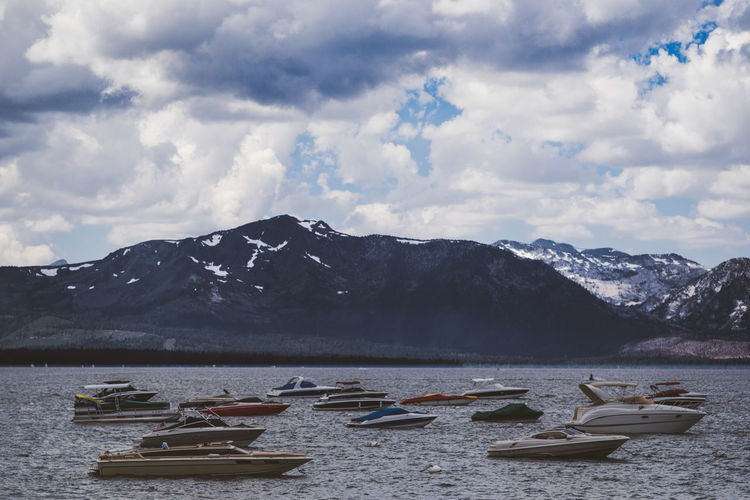 Nature Boats Lake Nautical Vessel Snowcapped Mountain Tahoe