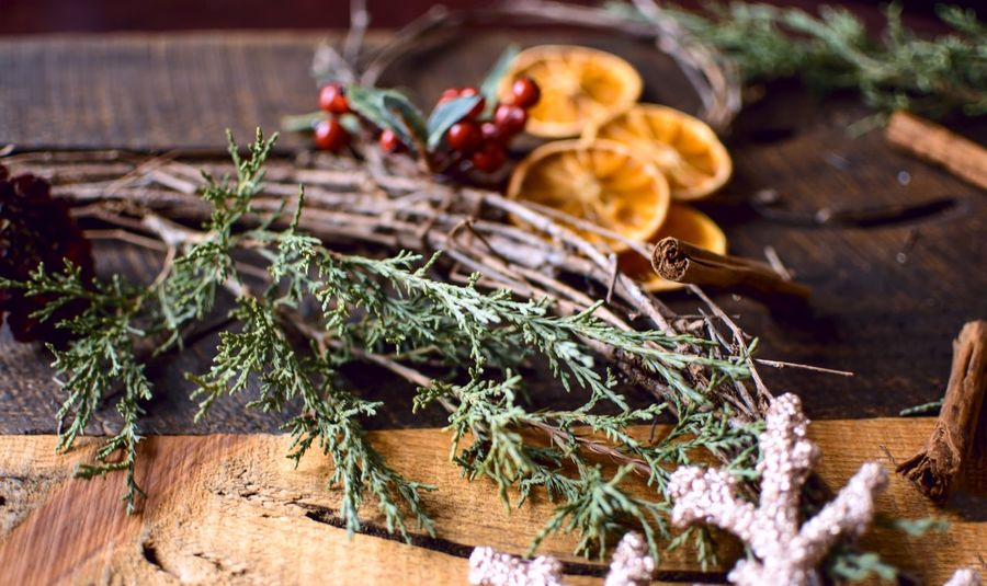 Christmas wreath flat lay traditional items to make homemade grape vine wreath with dried oranges cinnamon, cranberry and evergreen Christmas holiday season winter spices Copy Space Card Greetings Holiday Wellness Health Beauty DIY Making Christmas Wreath Wreath EyeEm Selects Wood - Material Plant Food And Drink Nature No People Food Selective Focus Fruit Close-up Day Celebration Christmas Freshness Leaf Plant Part Healthy Eating