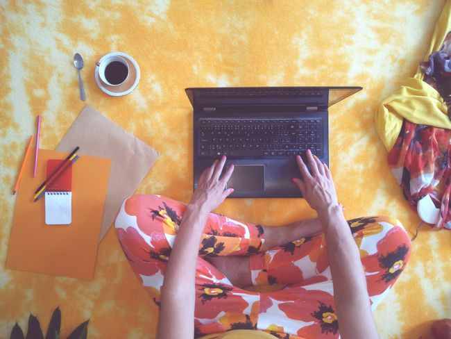 Wireless Technology Communication Technology Only Women One Woman Only Orange Color Blank Paper Paper And Pencil Feminine Style Styled Photos Color Pencils  Flatlay Real People Notebook Freelance Life Blogger Human Hand High Angle View Close-up Yellow The Week On EyeEm Mix Yourself A Good Time Modern Workplace Culture