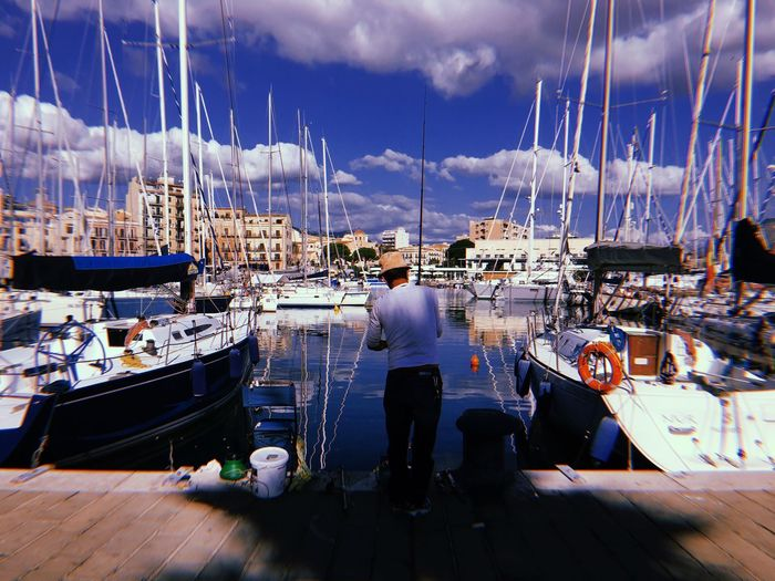 Beautiful morning in A port of Palermo Cloud - Sky Nautical Vessel Sky Water Harbor Nature My Best Travel Photo Transportation Men Sea Mode Of Transportation Day Moored Sailboat Leisure Activity People Yacht