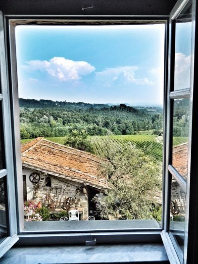 Tuscany Wine Tasting Window Landscape