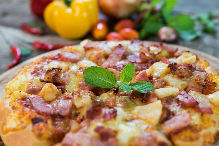 Close-up of pizza on table