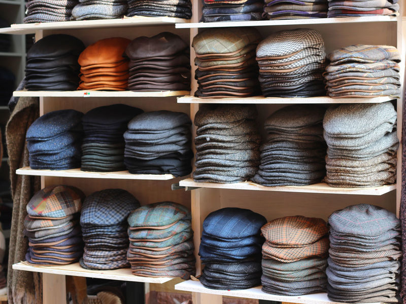 Flat Caps Arrangement Choice Close-up Collection Fashion Large Group Of Objects Multi Colored No People Retail  Row Of Things Shelf Stack Textile Textile Industry