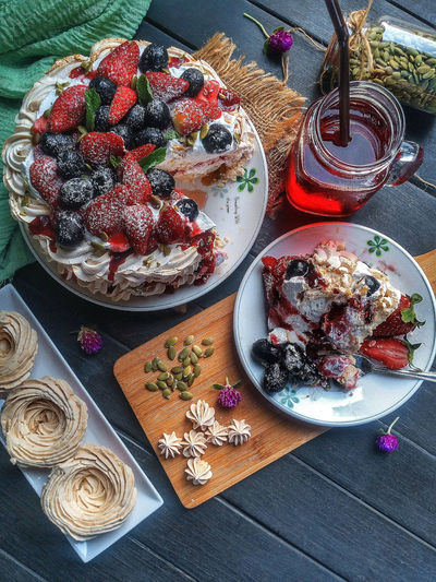 High angle view of deserts served on table
