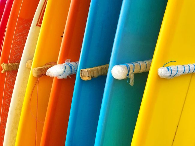 Multi Colored Surfboards Day No People Outdoors Backgrounds Surfing Beach Life Close-up Tourist Destination Bali Water Sport Leisure Activity Sommergefühle Mix Yourself A Good Time Paint The Town Yellow Be. Ready.