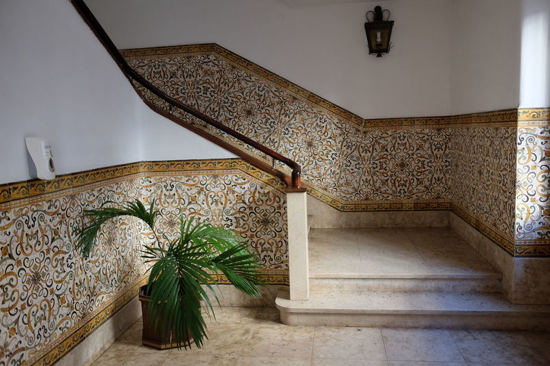 Ornate Tilework Staircase, Government Building, Avenida Arriaga Arts And Crafts City Composition Funchal Government Building Madeira Madeira Island Plant Portugal Sunlight And Shade Architecture Building Interior Built Structure Capital City Full Frame Indoor Photography No People Railing Staircase Steps Steps And Staircases Tiles Tilework Traditional Style Traditional Tiles