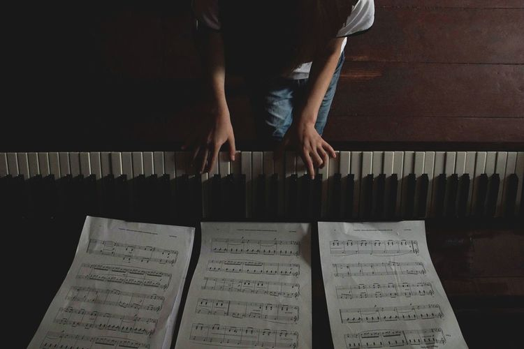 From Above  Human Hand Music Human Leg Arts Culture And Entertainment Sheet Music Pianist Piano Key Personal Perspective Piano Musical Note Musical Equipment This Is Strength