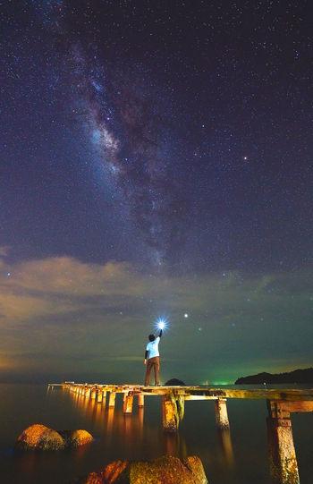 Reaching for the star Man Astrophotography Cfkam Milky Way Milkyway Milkywaygalaxy Sky Stars