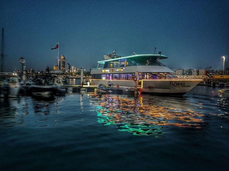 Marina beach, Abu Dhabi, Beautiful night cruise Nautical Vessel Sea First Eyeem Photo Out Of The Box Cruise Ship Cruise Ship Photos Cruise Liner Light And Shadow Light Effect Light And Dark Lights In The Dark Dockyard GalaxyS7Edge