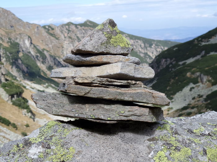 Stack Of Rocks In Mountain Against Sky
