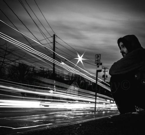 Blackandwhite Night Lights Selfportrait Fortheloveofblackandwhite Nightcall