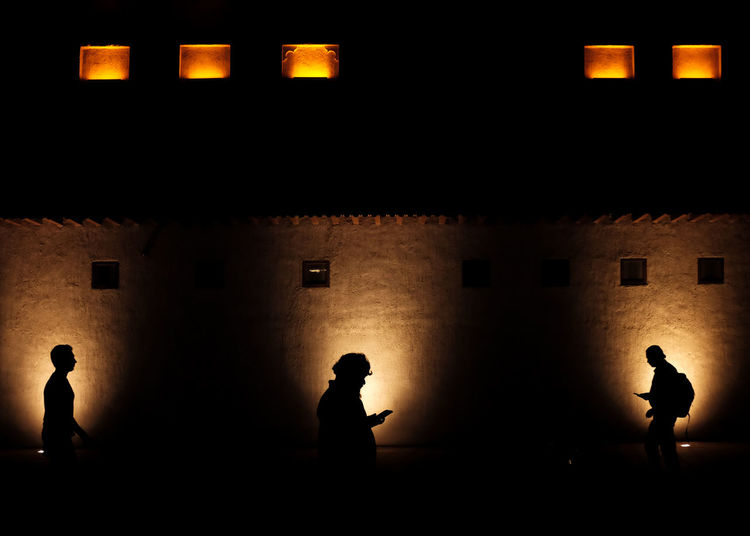 Silhouette people against illuminated building at night