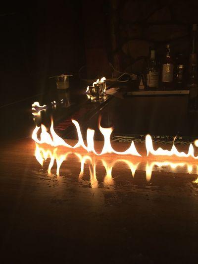 The bar is burning. Dodgy  Fire Bar Oakland