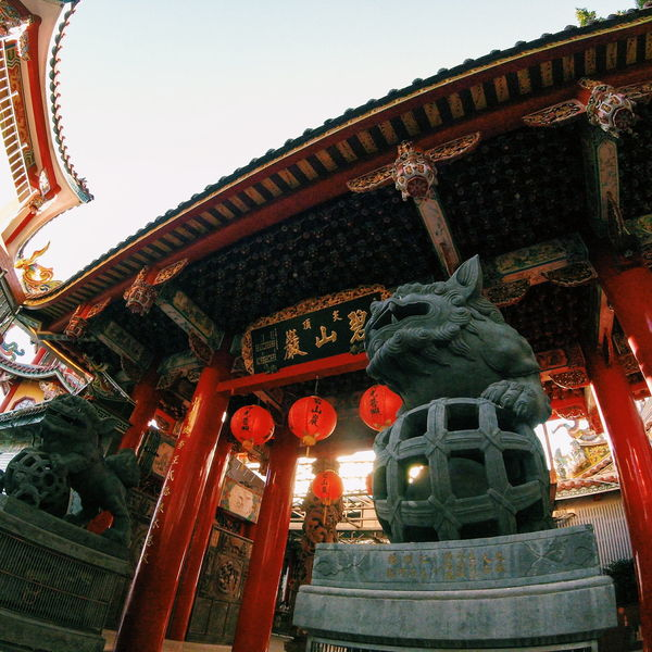 Daily Project Gopro Temple The View And The Spirit Of Taiwan 台灣景 台灣情 Culture Exterior Architecture Statue Cultural Taking Photos EyeEm Gallery Low Angle View Red Lantern Religious  Lion Statues Faith Hope
